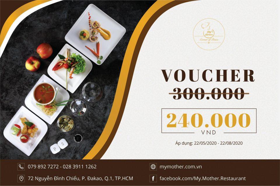 Voucher ẩm thực nhà hàng My Mother trị giá 300.000đ chỉ còn 240.000đ